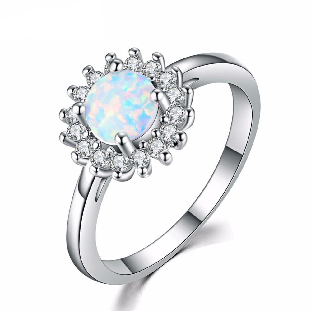 Luxxurio White Fire Opal Wedding Ring