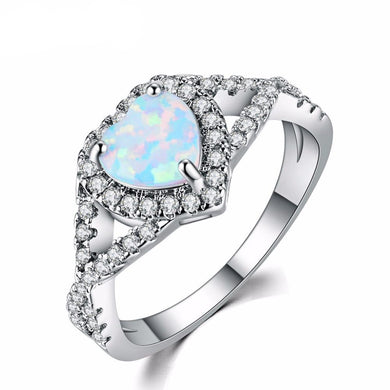 Luxxurio White Fire Opal Heart Ring