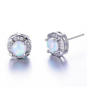 Luxxurio Mystic Round Fire Opal Stud Earrings