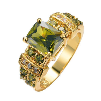 Luxxurio Geometric Green Gold Plated Ring