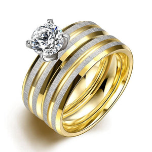 Luxxurio Crystal Wedding Stainless Steel Ring