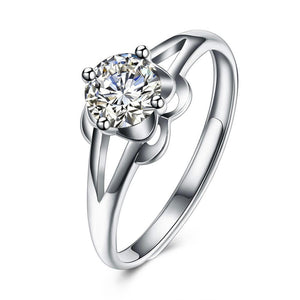 Luxxurio Flower Silver Wedding Ring