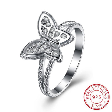 Luxxurio White Butterfly Silver Wedding Ring