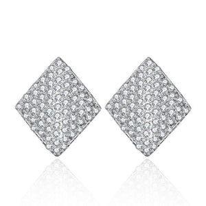 Luxxurio Rhombic Silver Stud Earrings