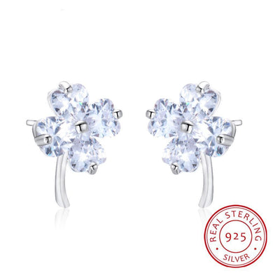 Luxxurio White Clover Silver Stud Earrings