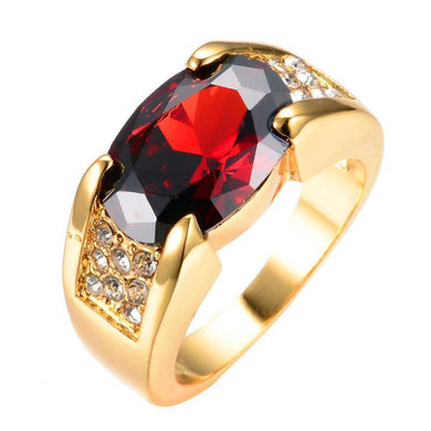 Luxxurio Red Ruby Gold Plated Ring