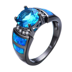 Luxxurio Mystic Round Lake Blue Birthstone Ring