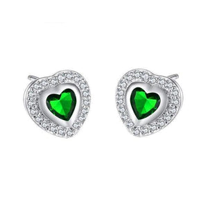 Luxxurio Heart Stud Earrings