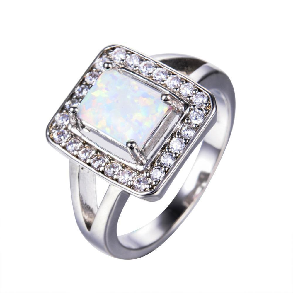 Luxxurio White Fire Opal Geometric Ring - Luxxurio