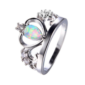 Luxxurio Blue Fire Opal Crown Ring