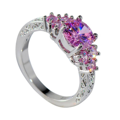 Luxxurio Elegant Pink Zircon Wedding Ring