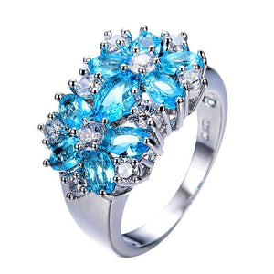 Luxxurio Bohemian Lake Blue Zircon Flower Birthstone Ring