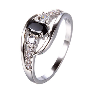 Luxxurio Black Oval Zircon Ring