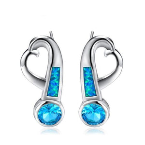 Luxxurio Silver Opal Stud Earrings