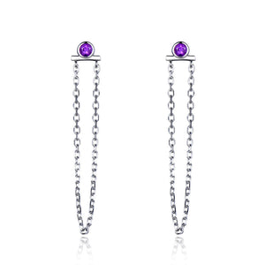 Luxxurio Natural Amethyst Silver Drop Earrings - Luxxurio