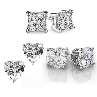Luxxurio 925 Sterling Silver Earrings Set of 3 Pairs