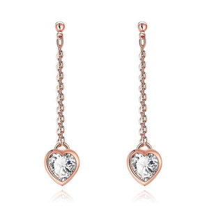 Luxxurio Heart Drop White Topaz Stud Earrings