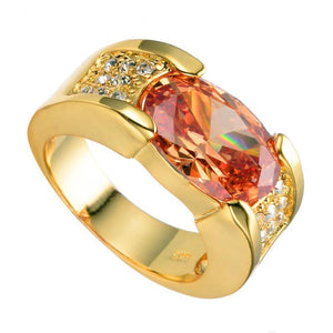 Luxxurio Red Oval Gold Plated Ring - Luxxurio