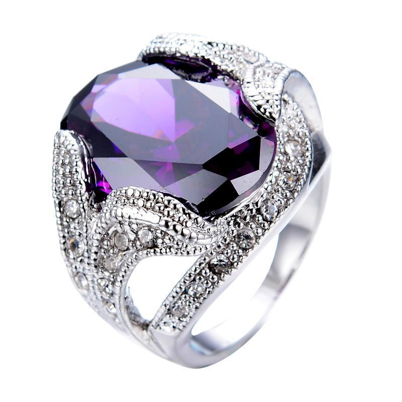 Luxxurio Purple Stone Ring