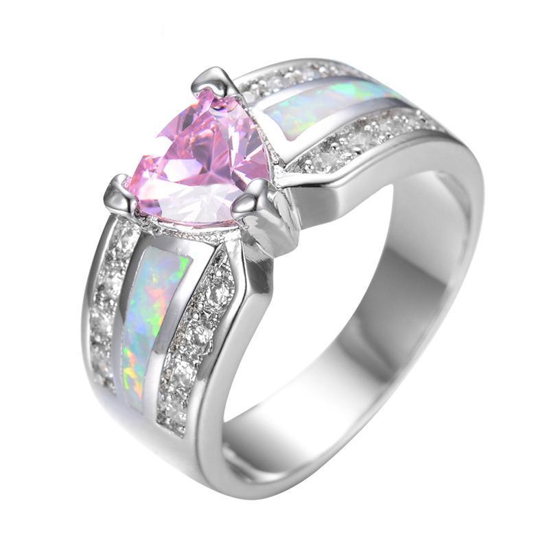 Luxxurio Pink Heart Opal Ring