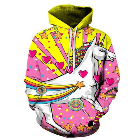 Stars, Hearts, & Rainbow-Unicorn Lollipops - Hoodie - Unicorn-Finds