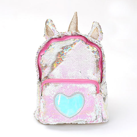 Shimmering Sequined Unicorn Backpack (Gold/Silver) - Unicorn-Finds