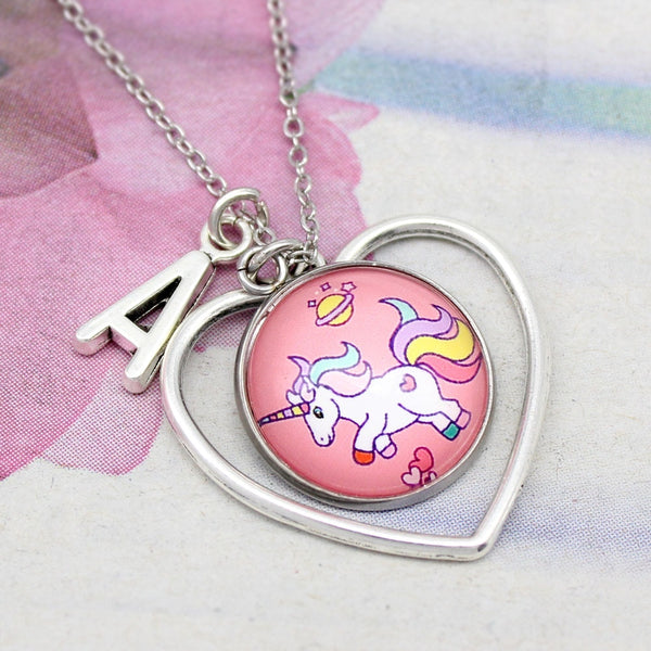 Unicorn Heart Necklace w/ Personalized Letter Charm - Unicorn-Finds