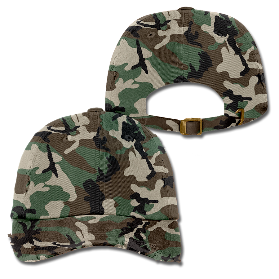 Custom Camo Distressed Dad Hat