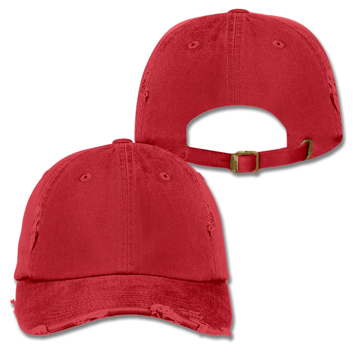 Custom Red Distressed Dad Hat