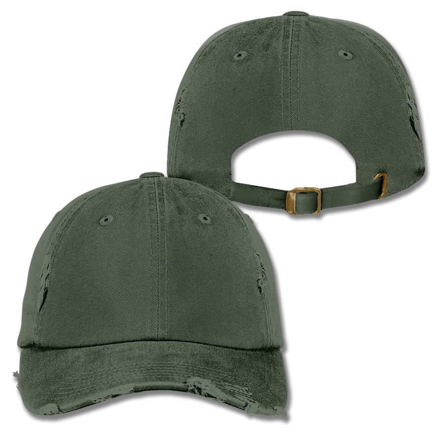 Custom Olive Green Distressed Dad Hat
