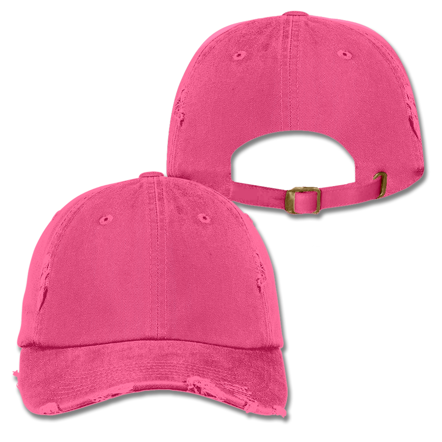 Custom Hot Pink Distressed Dad Hat
