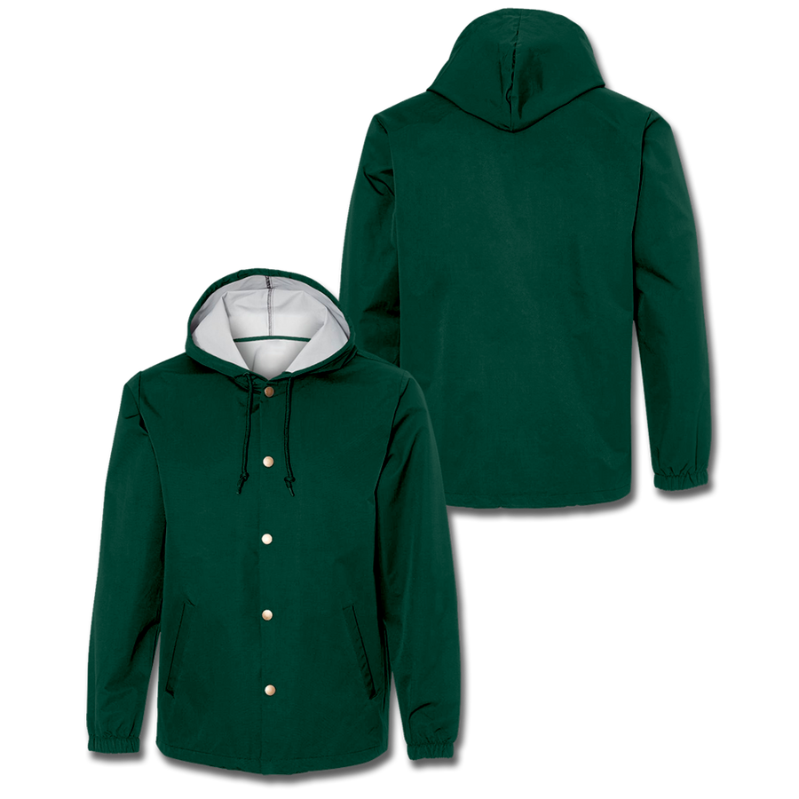 Custom Forest Green Hooded Coaches Jacket