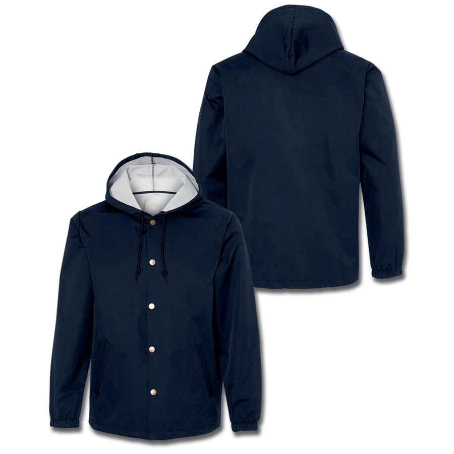 Custom Navy Hooded Coaches Jacket