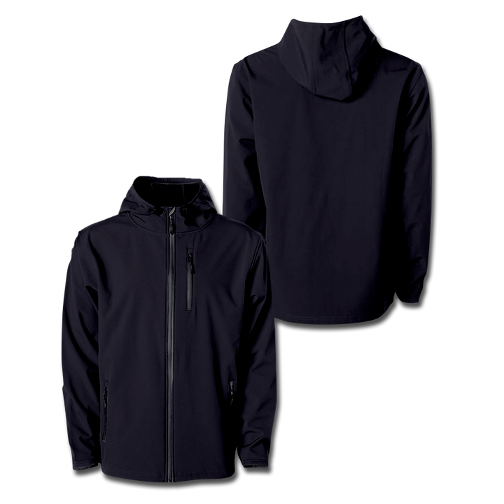 Custom Black Hooded Softshell Jacket