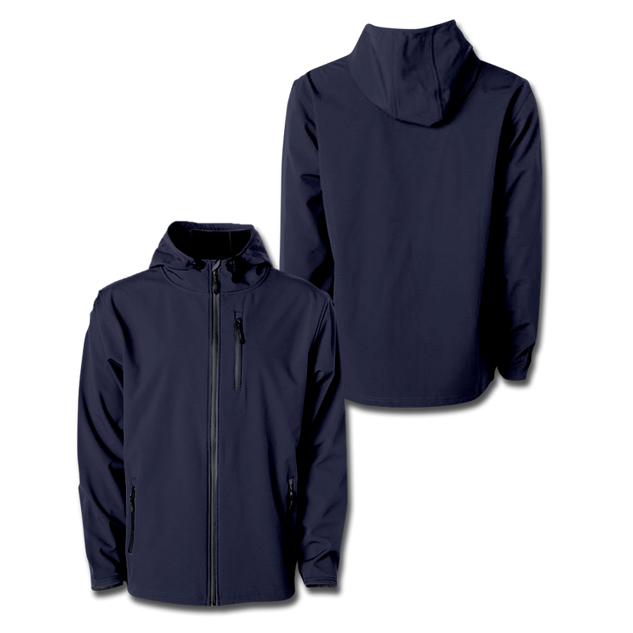 Custom Navy Hooded Softshell Jacket