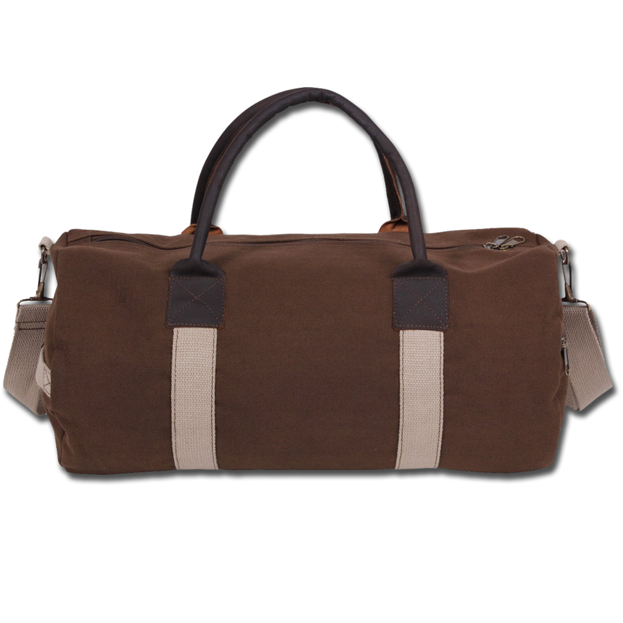 Custom Brown Leather Strap Duffel Bag
