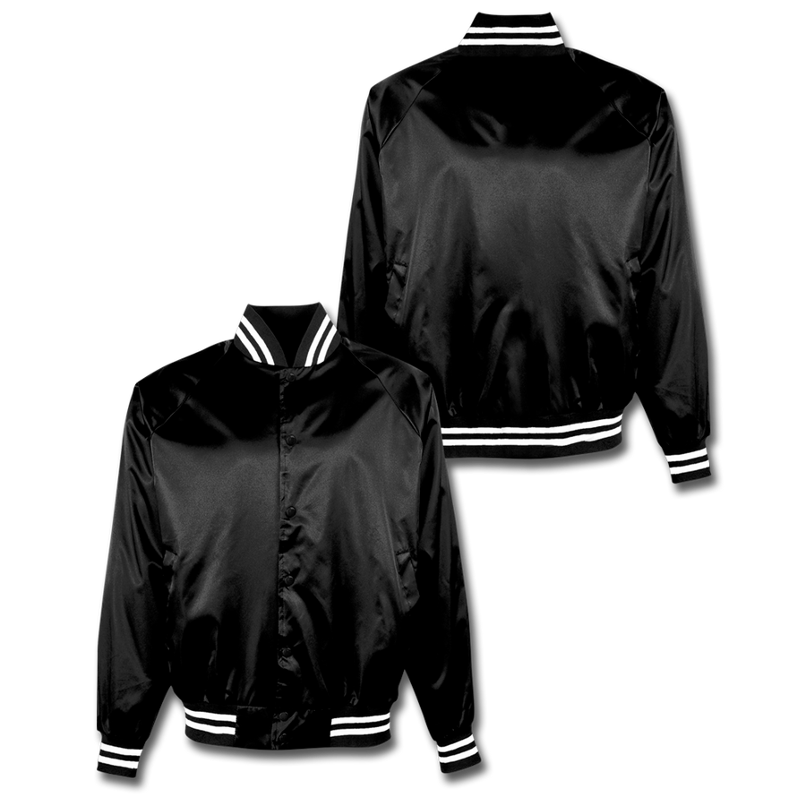 Custom Black Satin Bomber Jacket