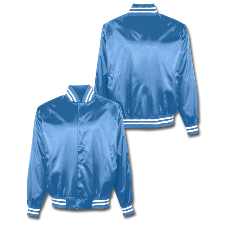 Custom Columbia Blue Satin Bomber Jacket