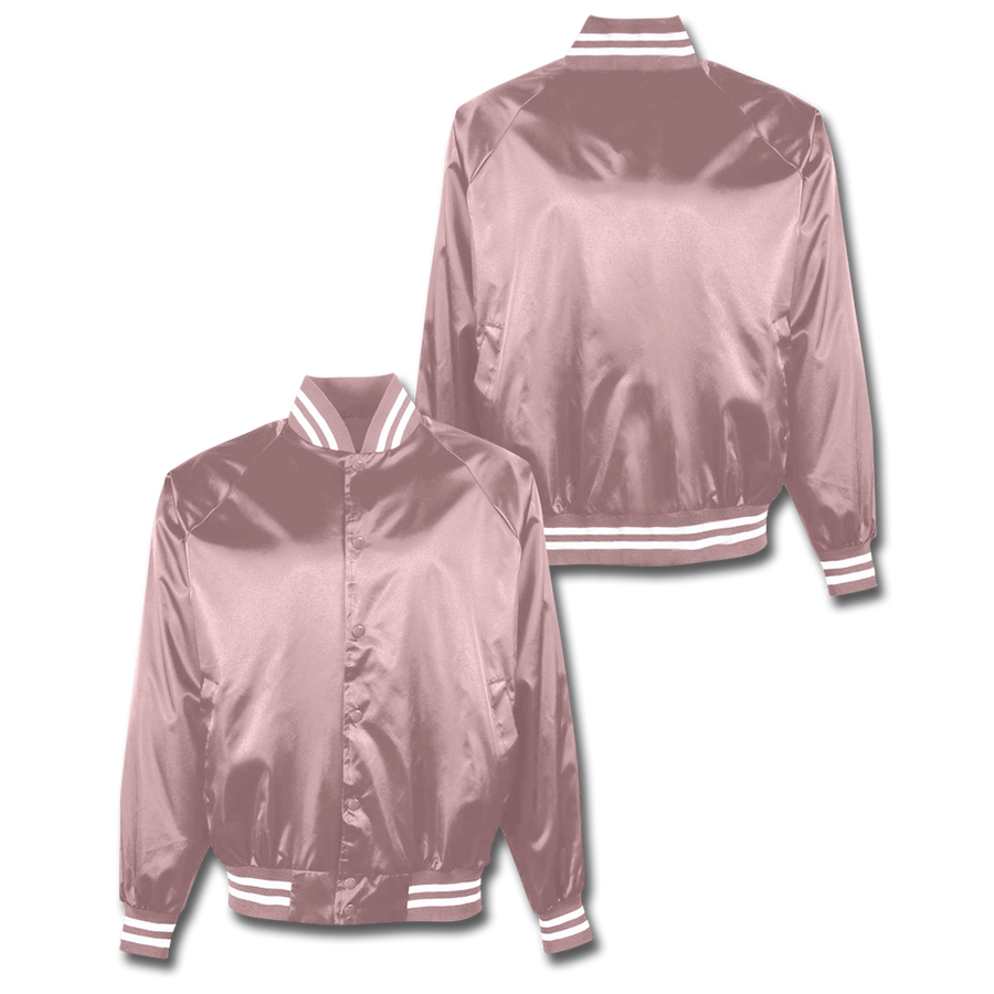 Custom Light Pink Satin Bomber Jacket