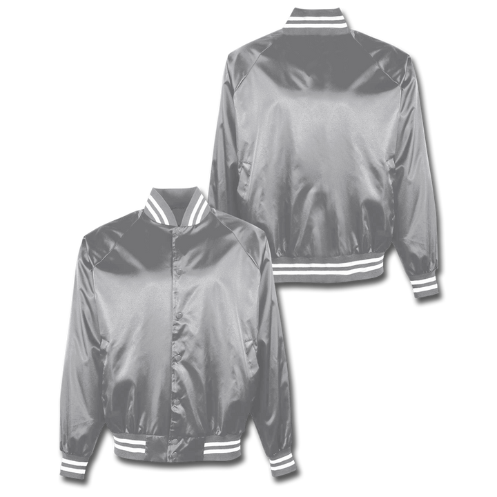 Custom Silver Satin Bomber Jacket