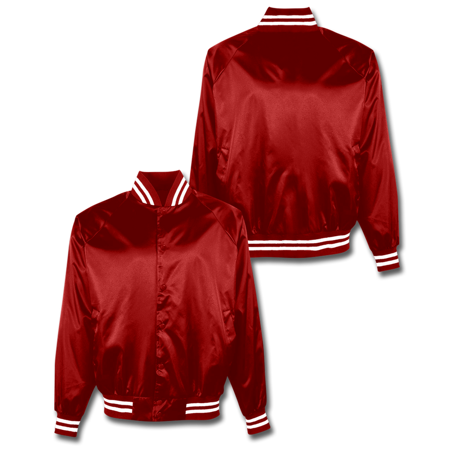 Custom Red Satin Bomber Jacket