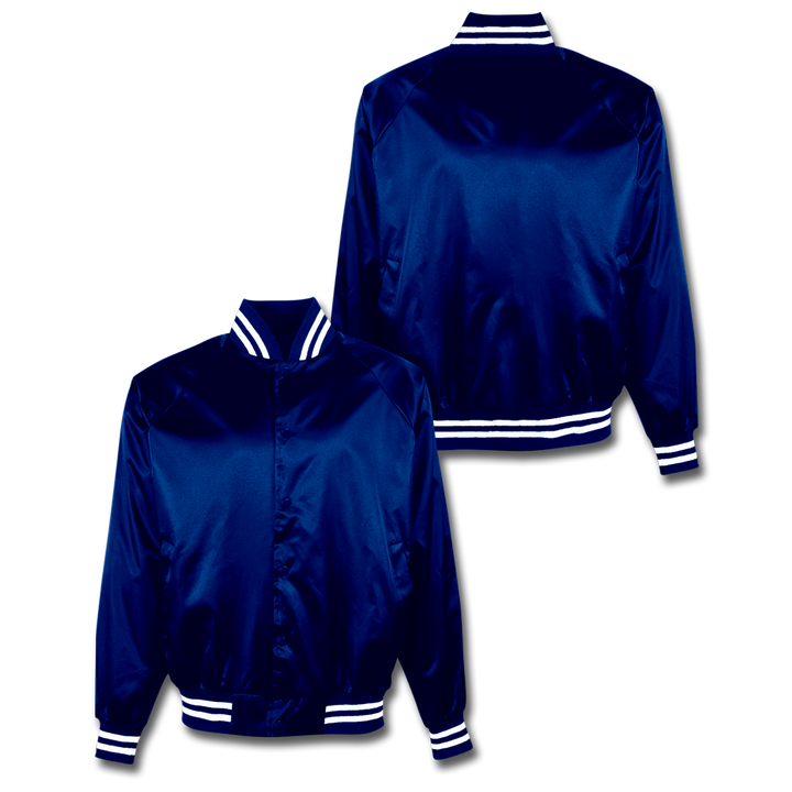 Custom Royal Blue Satin Bomber Jacket