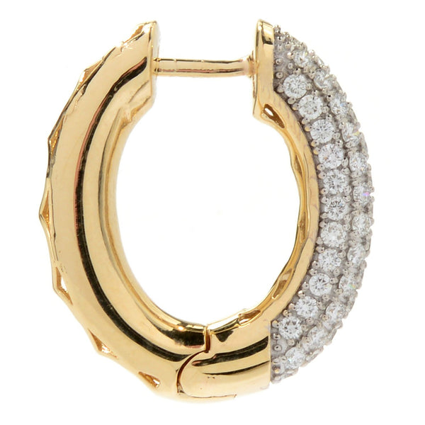 14k Gold & Diamond Huggie Hoop Earrings