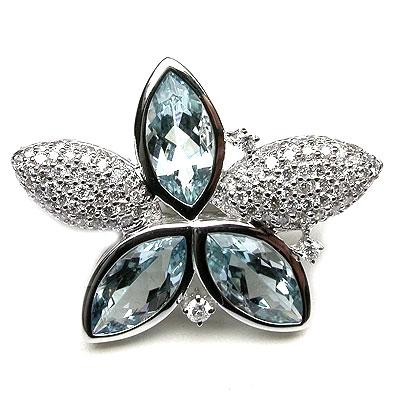 18k Gold 15/16'' Aquamarine & Diamond Brooch