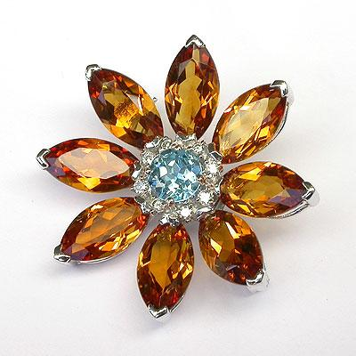 18k Gold Blue Sapphire & Diamond Flower Brooch