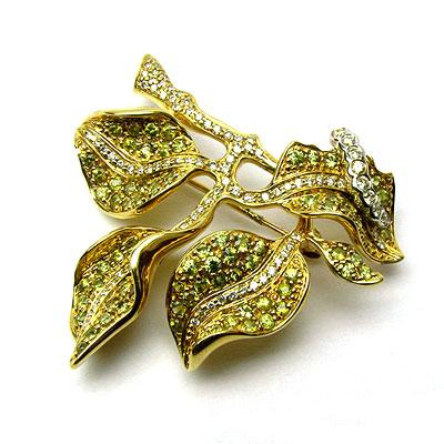 14k Gold 1 1/2'' Demantoid & Diamond Brooch