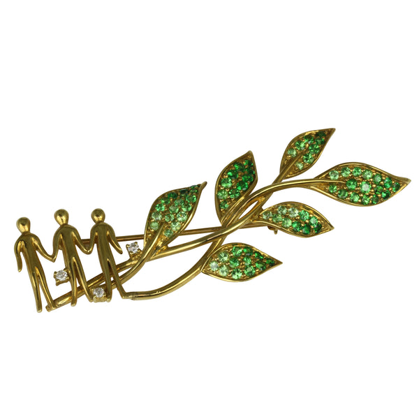 18k Gold 2 1/2'' Tsavorite & Diamond Leaf Brooch