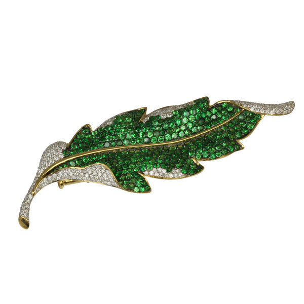 18k Gold 3 3/16'' Tsavorite & Diamond Leaf Brooch