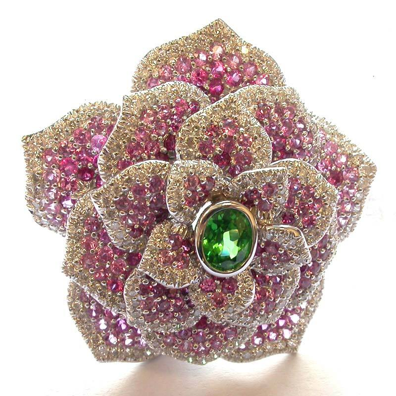 18k Gold Multi Gemstone & Diamond Floral Brooch