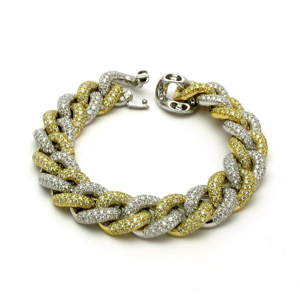 18k Gold 7'' Thick Diamond Chain Bracelet